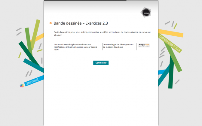 Ressource Externe : Bande dessinée  – Exercices 2.3