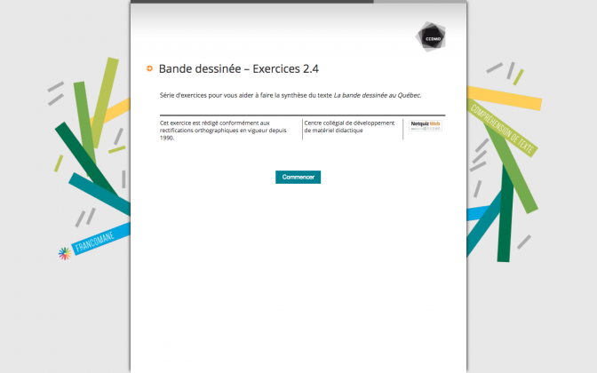 Ressource Externe : Bande dessinée  – Exercices 2.4