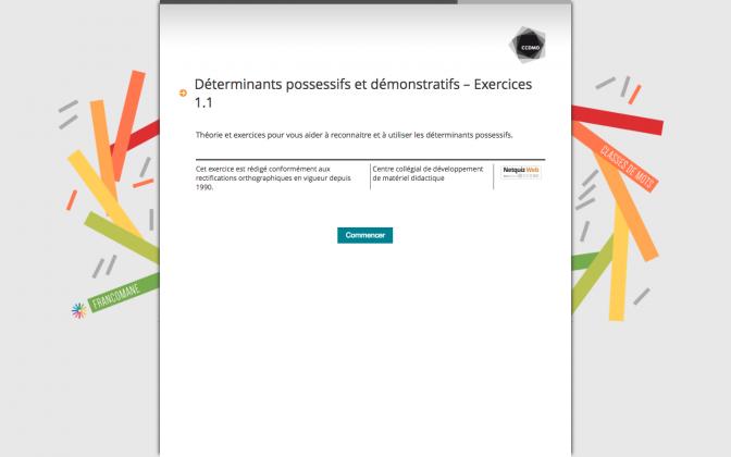 Ressource Externe : Déterminants possessifs et démonstratifs – Exercices 1.1