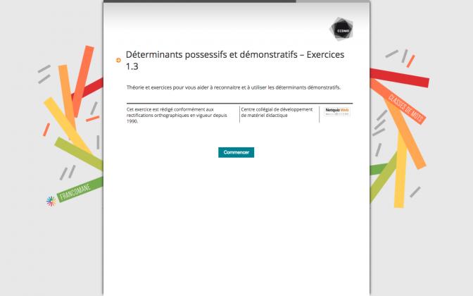 Ressource Externe : Déterminants possessifs et démonstratifs – Exercices 1.3