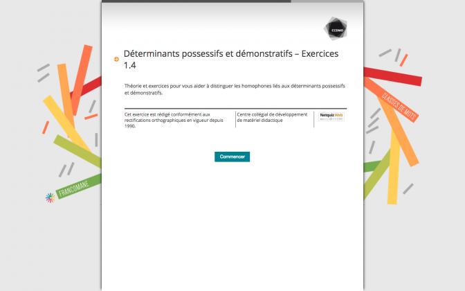 Ressource Externe : Déterminants possessifs et démonstratifs – Exercices 1.4