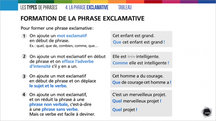 Document : Types de phrases – Tableau 4