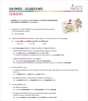Document : Adjectifs – Fiche synthèse