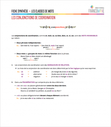 Document : Conjonctions – Fiche synthèse
