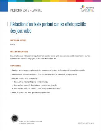 Document : Virtuel – Production écrite