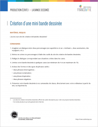 Document : Bande dessinée – Production écrite 1
