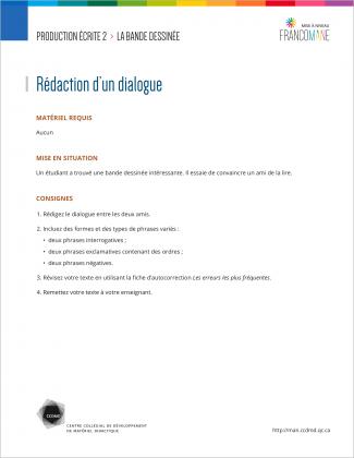 Document : Bande dessinée – Production écrite 2