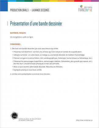 Document : Bande dessinée – Production orale 1