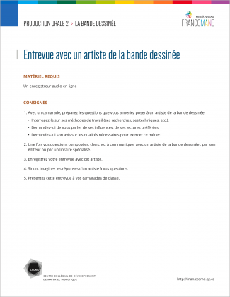 Document : Bande dessinée – Production orale 2