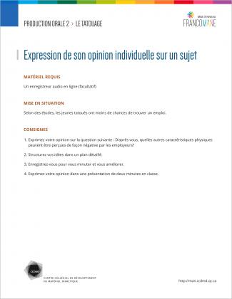 Document : Tatouage – Production orale 2