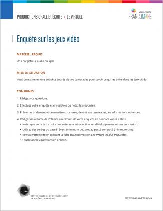 Document : Virtuel – Productions orale et écrite