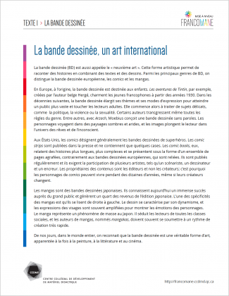 Document : Bande dessinée – Texte 1