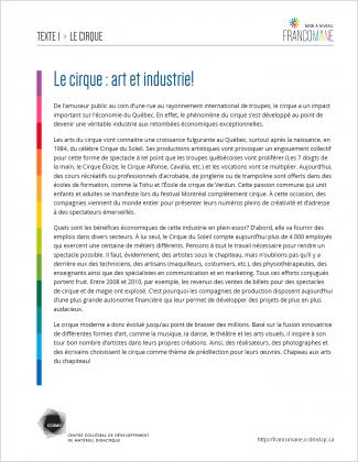Document : Cirque – Texte 1