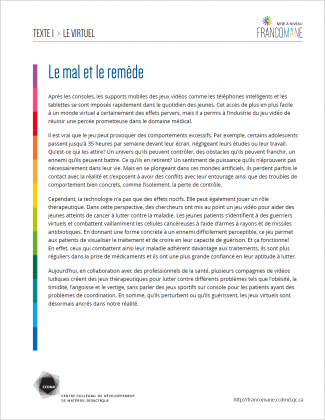 Document : Virtuel – Texte 1