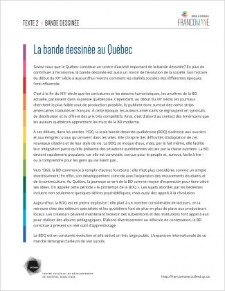 Document : Bande dessinée – Texte 2