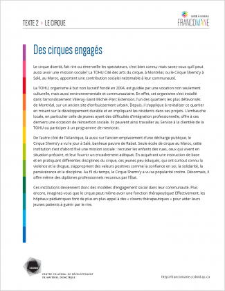 Document : Cirque – Texte 2