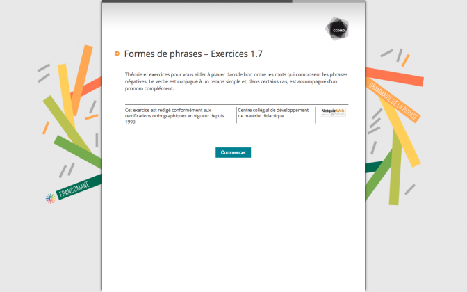 Ressource Externe : Formes de phrases – Exercices 1.7