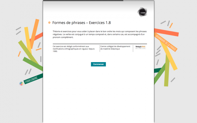 Ressource Externe : Formes de phrases – Exercices 1.8