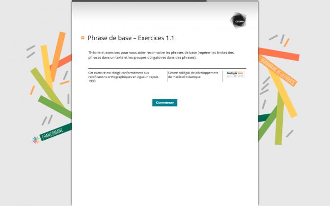 Ressource Externe : Phrase de base – Exercices 1.1