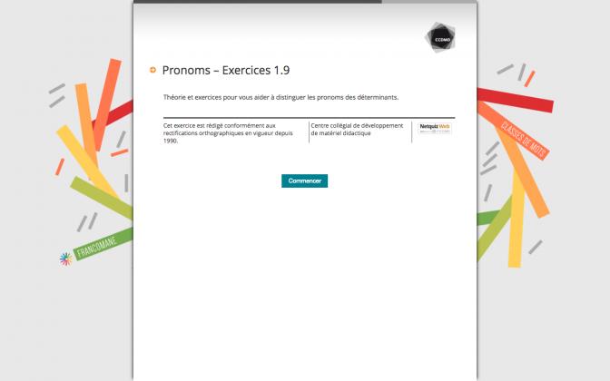 Ressource Externe : Pronoms – Exercices 1.9