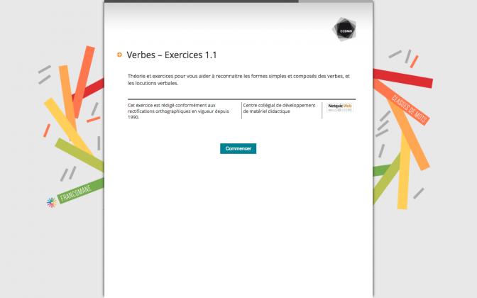 Ressource Externe : Verbes – Exercices 1.1